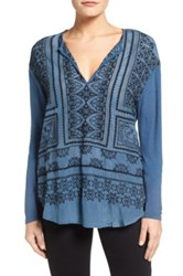 Lucky Brand Embroidered Split Neck Blouse Blue