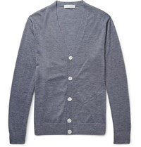 Gieves And Hawkes Cashmere Wool Silk Blend Cardigan Gray