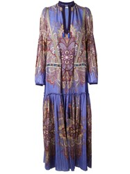 Etro Paisley Print Maxi Dress Purple