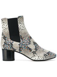 Etoile Isabel Marant Snake Print Ankle Boots Leather Grey