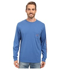 Vineyard Vines Long Sleeve Vintage Whale Pocket Tee Wipeout Men's T Shirt Blue