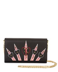Valentino Loveblade Leather Wallet On A Chain Black