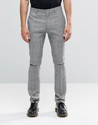 Religion Skinny Trousers In Prince Of Wales Check With Ripped Knees Black