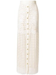 Fausto Puglisi Long Lace Skirt Nude And Neutrals