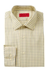 Alexander Julian Check Print Long Sleeve Tapered Fit Shirt Yellow