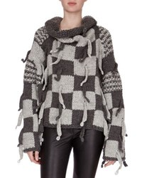 Loewe Chunky Knit Checkerboard Sweater Gray