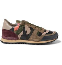 Valentino Leather Suede And Canvas Sneakers Green