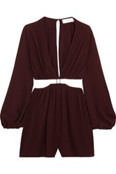 Zimmermann Cutout Crepe Playsuit Grape