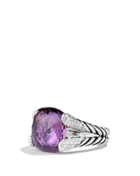 David Yurman Color Cocktail Ring With Amethyst And Diamonds Silver Purple