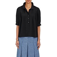 Maison Mayle Women's Accordion Pleated Swing Top Blue