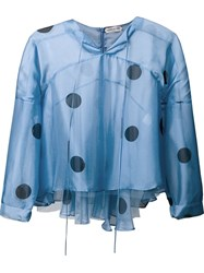 Natasha Zinko Sheer Polka Dot Blouse Blue
