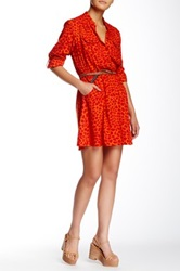 Angie Long Sleeve Patterned Dress Red