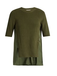 Moncler Contrast Panel Round Neck Cotton Top Khaki