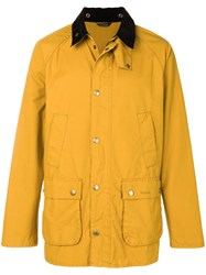 Barbour Contrast Collar Bedale Jacket Yellow And Orange