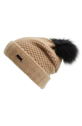 Burberry Knit Wool And Cashmere Beanie With Genuine Fox Fur Pompom Camel