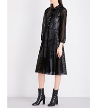 Junya Watanabe Velvet Mesh And Faux Leather Dress Black