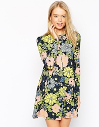 Asos Swing Dress In Retro Floral Print