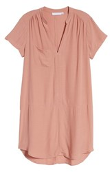 Lush Split Neck Shift Dress Rose Dawn