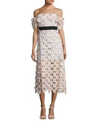 Self Portrait Off Shoulder 3 D Floral Midi Dress Pink