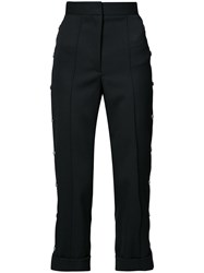 Vera Wang High Rise Cropped Tailored Trousers Cotton Wool Black