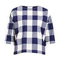 Paisie Boxy Checked Top With Three Quarter Sleeves