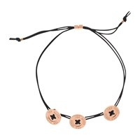 Ted Baker Taegen Button Cord Bracelet Rose Gold Black