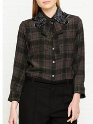 Marc Jacobs Plaid Button Front Shirt With Neck Tie Green