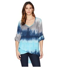 Mod O Doc Printed Rayon V Neck Crossover Hem Top Navy Tie Dye Long Sleeve Pullover