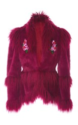 Anna Sui La Belle Faux Fur Jacket Burgundy