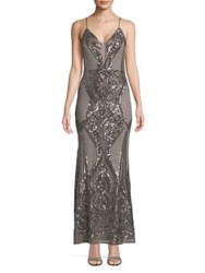 Betsy And Adam Embellished Long Dress Taupe