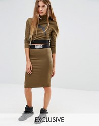 Puma Exclusive To Asos Bodycon Skirt Co Ord Burnt Olive Green