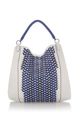 Agnona Fobo Medium Woven Hobo Bag Blue