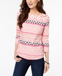 Charter Club Button Shoulder Print Top In Regular And Petite Sizes Created For Macy's Porcelian Rose Tile Combo