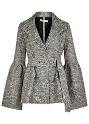 Rejina Pyo Claire Belted Boucle Blazer Grey