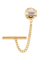 David Donahue 14K Gold Fill Wire Accented Bar Tie Pin Metallic