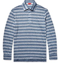 Isaia Striped Knitted Slub Linen Polo Shirt Blue
