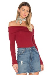 Bobi Modal Thermal Off Shoulder Top Red