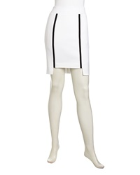 Nicole Miller Sporty Notched Pique Skirt White