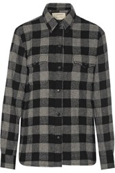 Current Elliott The Perfect Checked Cotton Blend Shirt Gray