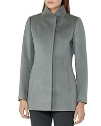 Reiss Napoli Wrap Collar Wool Coat Light Blue