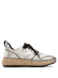 Tod's Leather And Espadrille Sole Trainers Silver
