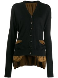 Uma Wang Oversized Contrast Cardigan Brown