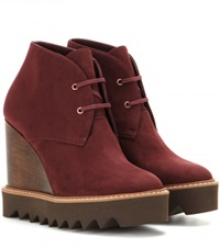 Stella Mccartney Platform Faux Suede Ankle Boots Red