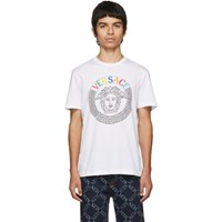 Versace White Embroidered Medusa T Sihirt