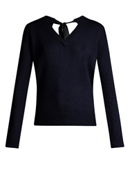 Joseph V Neck Cashmere Sweater Navy