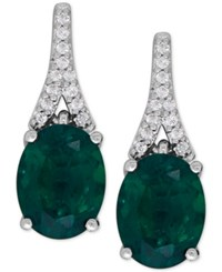 Macy's Lab Created Emerald 3 1 5 Ct. T.W. And White Sapphire 1 8 Ct. T.W. Drop Earrings In Sterling Silver
