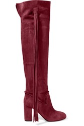 Aquazzura Tasseled Suede Over The Knee Boots Red