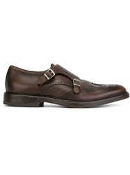 Henderson Fusion Perforated Monk Shoes Brown