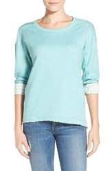 Women's Caslon High Low Sweatshirt Heather Teal Ripple