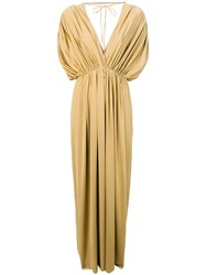 Fisico Gathered Tied Gown Gold